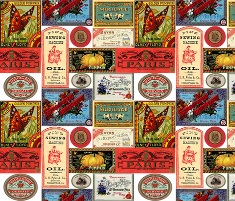 Vintage Labels fabric by victoriagolden on Spoonflower - custom fabric
