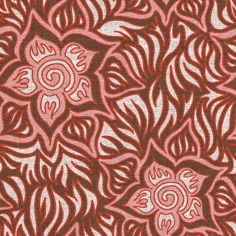 Pink and brown tropics linen fabric by emilyclaire on Spoonflower - custom fabric