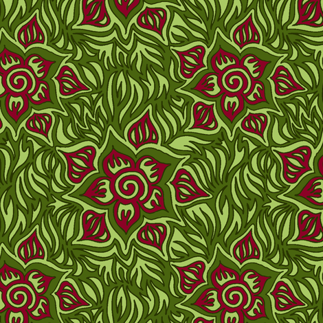 green and pink tropical fabric by emilyclaire on Spoonflower - custom fabric