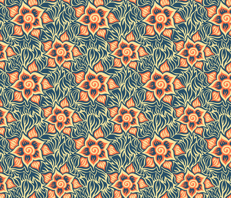 blue and orange tropical fabric by emilyclaire on Spoonflower - custom fabric
