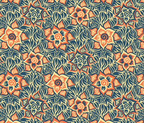 blue and orange variation fabric by emilyclaire on Spoonflower - custom fabric