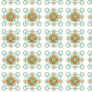 Quilt Grid, Gold & Turq 20