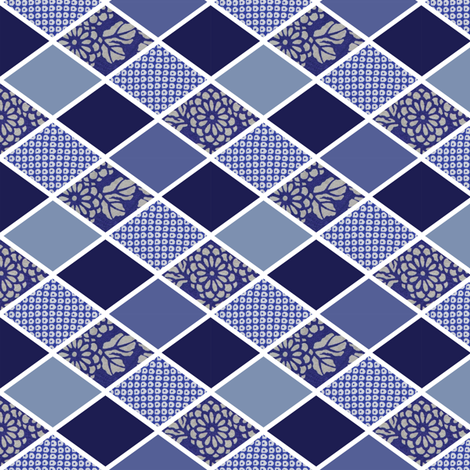 DIAMONDS - INDIGO BLUE KIMONO fabric by lucypatterson on Spoonflower - custom fabric