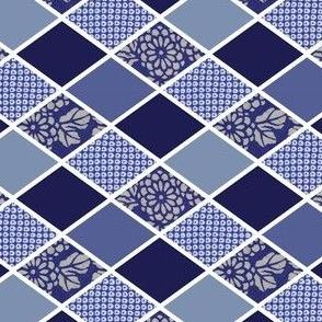 DIAMONDS - INDIGO BLUE KIMONO