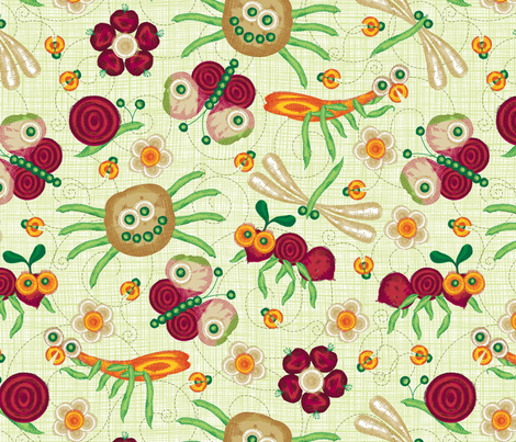 You can play with your vegies... and eat them too! Please zoom for detail. fabric by cjldesigns on Spoonflower - custom fabric