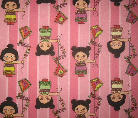 kokeshi kite candy pink stripe