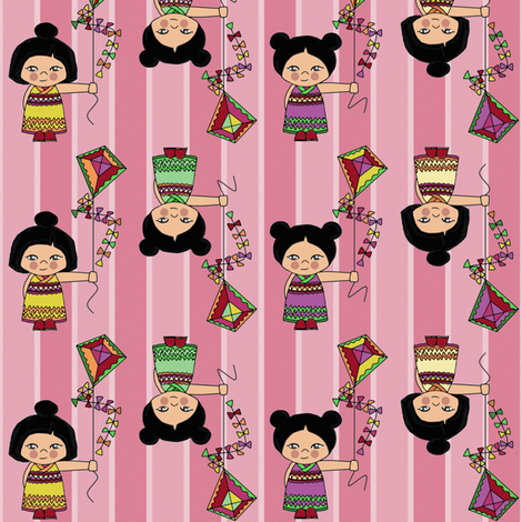 kokeshi kite candy pink stripe fabric by scrummy on Spoonflower - custom fabric
