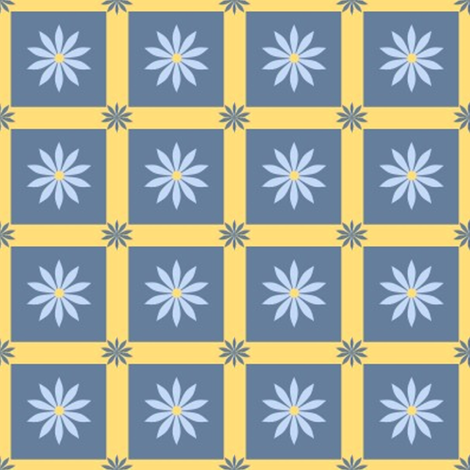 Daisy squares fabric by vo_aka_virginiao on Spoonflower - custom fabric