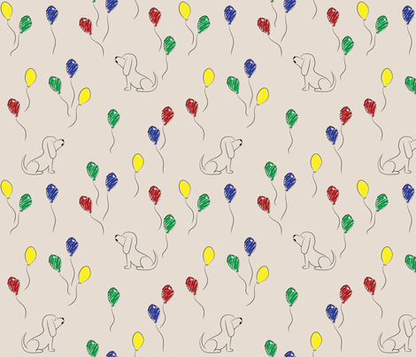 Doodle Bassets and Balloons (Tan) fabric by robyriker on Spoonflower - custom fabric