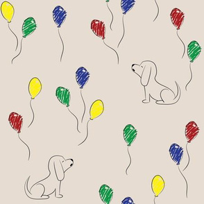 Doodle Bassets and Balloons (Tan)