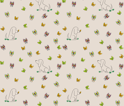 Doodle Bassets and Butterflies (Tan) fabric by robyriker on Spoonflower - custom fabric