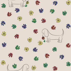 Doodle Bassets and Flowers (Tan)