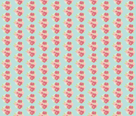 Roses on Aqua fabric by meg56003 on Spoonflower - custom fabric