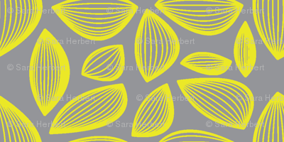 Falling Leaves in Grey and Yellow