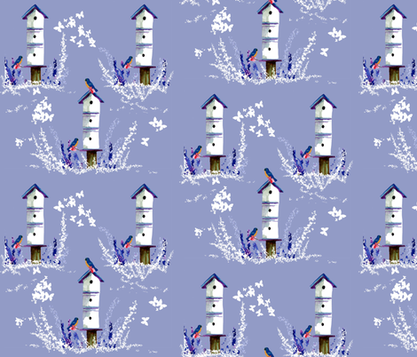 Birdhouses, Bluebirds and Butterflies fabric by karenharveycox on Spoonflower - custom fabric