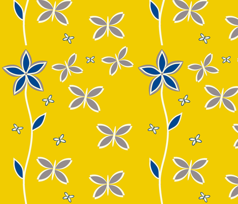 Yellow and Gray Butterfly fabric by mainsail_studio on Spoonflower - custom fabric