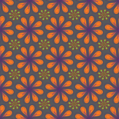 halloween_flower_print_grey fabric by mainsail_studio on Spoonflower - custom fabric