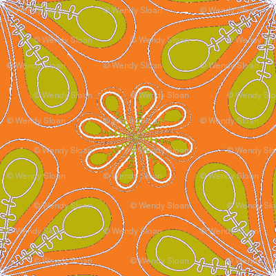 halloween_flower_print_orange green-ch