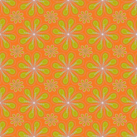 halloween_flower_print_orange green-ch fabric by wendyg on Spoonflower - custom fabric