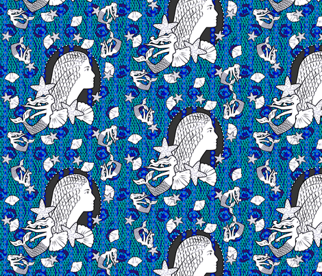 Princess of the Ocean Blue fabric by glimmericks on Spoonflower - custom fabric
