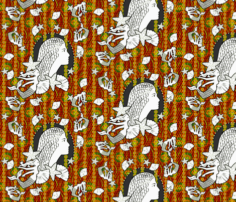 Princess of the Coral Sea fabric by glimmericks on Spoonflower - custom fabric