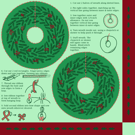Mini Stuffed Wreath Christmas Ornament fabric by mongiesama on Spoonflower - custom fabric