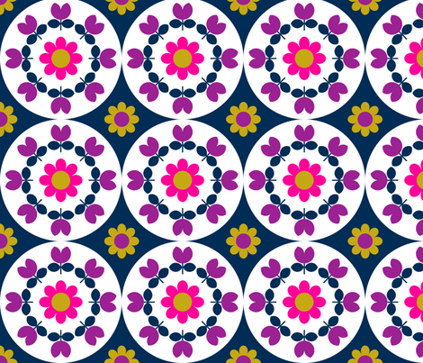 flower_plate_navy fabric by aliceapple on Spoonflower - custom fabric