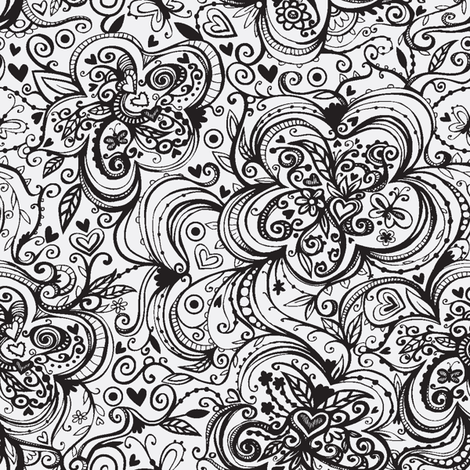Black and White Flowers fabric by tessiegirldesigns on Spoonflower - custom fabric