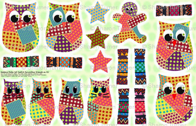 Rainbow Polka Cat Swatch Decoration (christmas friends on fq)
