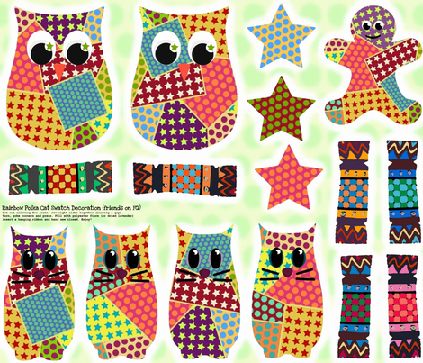Rainbow Polka Cat Swatch Decoration (christmas friends on fq) fabric by scrummy on Spoonflower - custom fabric