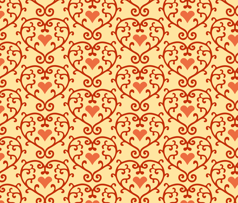 Heart scrolls fabric by kezia on Spoonflower - custom fabric