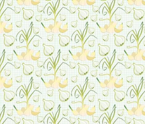 Garlic Lovers : Root Vegetable Contest Entry fabric by jpdesigns on Spoonflower - custom fabric