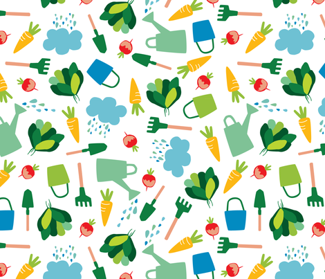 Garden fabric by hikje on Spoonflower - custom fabric