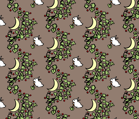 Rabbits Eating Carrots in a Moonlit Garden