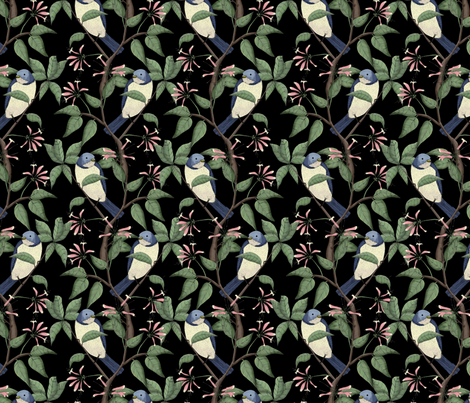 Bird Spotting Black (Small Scale Print) fabric by lydia_meiying on Spoonflower - custom fabric