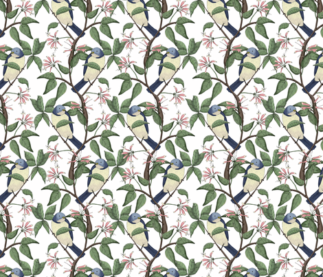 Bird Spotting White (Small Scale Print) fabric by lydia_meiying on Spoonflower - custom fabric