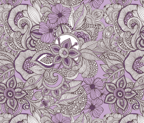 doodles purple and brown 01 fabric by valentinaharper on Spoonflower - custom fabric