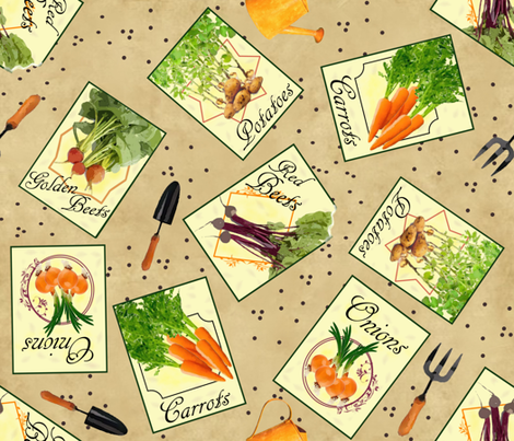Planning My Vegie Patch fabric by jabiroo on Spoonflower - custom fabric