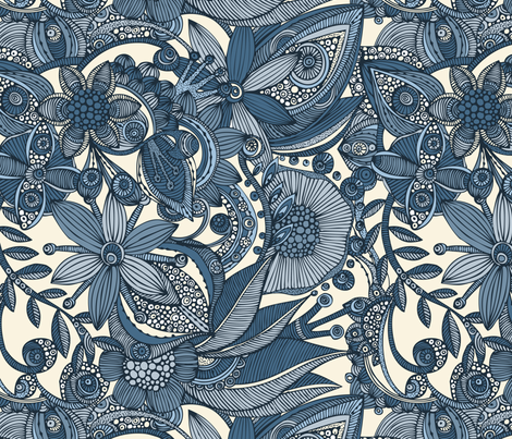 Doodle and flowers in blue fabric by valentinaharper on Spoonflower - custom fabric
