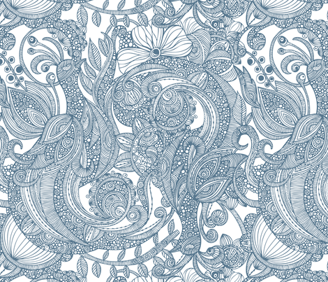 Feather Heaven (blue) fabric by valentinaramos on Spoonflower - custom fabric