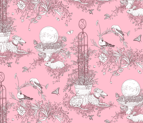 My Garden Toile Main Large Rose Pink  ©2011 by Jane Walker fabric by artbyjanewalker on Spoonflower - custom fabric
