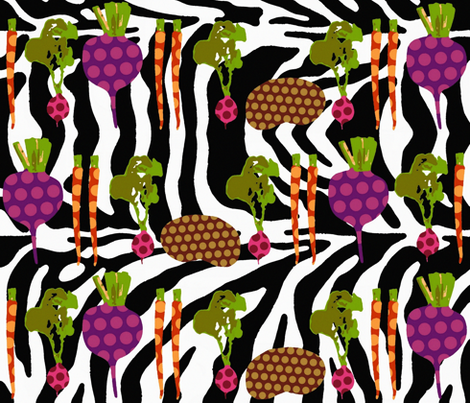 la la polka veg fabric by scrummy on Spoonflower - custom fabric