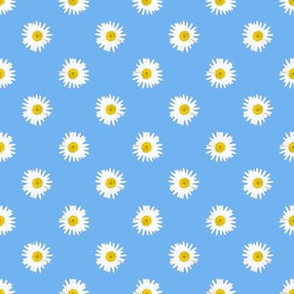 Shasta Daisy Polka Dots -- on sky blue