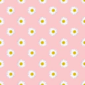 Shasta Daisy Polka Dots -- on pink