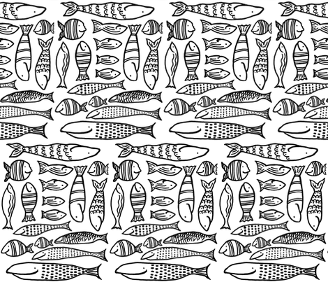 Funky Fish (black & white) fabric by pattyryboltdesigns on Spoonflower - custom fabric
