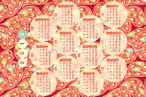 "2014 ""Splatsh!"" calendar fabric by mariao on Spoonflower - custom fabric"