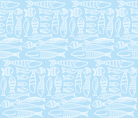 Funky Fish (baby blue & white) fabric by pattyryboltdesigns on Spoonflower - custom fabric