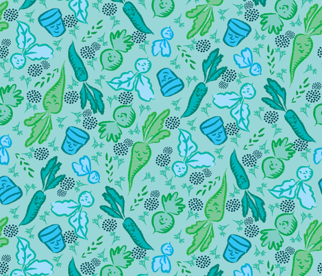 Green garden fabric by needlebook on Spoonflower - custom fabric