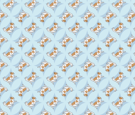 Chihuahuas trotting in blue windows fabric by rusticcorgi on Spoonflower - custom fabric
