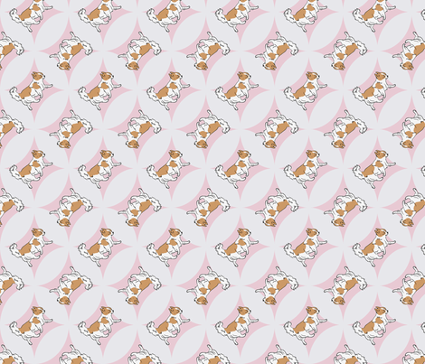 Chihuahuas trotting in pink windows fabric by rusticcorgi on Spoonflower - custom fabric